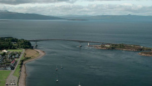 A helicopter shoot over the Skye Bridge during production of Media Coop Glasgows The Bridge Rising, for BBC Alba.