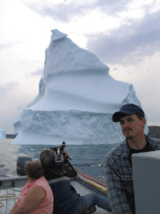 Water Street West Entertainment Director of photography Chris Murphy shooting an iceberg in Newfoundland
